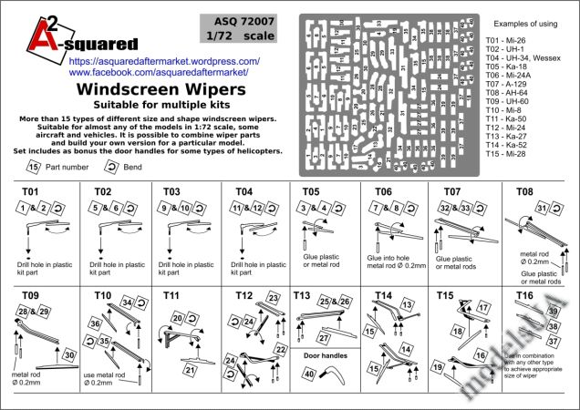 1:72 Helicopter Windscreen Wipers A-Squared 72007