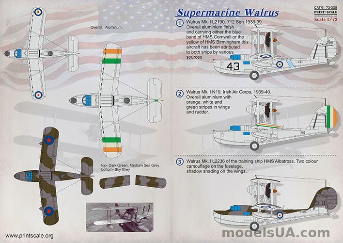 modelsua u003e decals 1 72 u003e supermarine walrus 1 72 print scale 72308 rh modelsua com