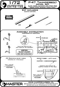 P-47 Thunderbolt - details set - Browning .50 blast tubes, gunsight and Pitot Tube 1/72 MASTER AM-72-145
