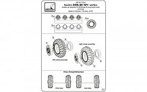 BTR-80 APC wheels w/ weighted tires KI-80N 1:72 Armory ARAC7324a