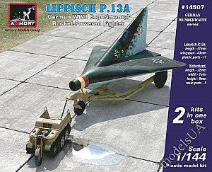 Lippisch P.13A rocket fighter + Kettenkrad (2 kits in a box) 1:144 Armory 14507