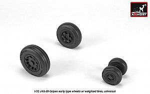 JAS-39 Gripen wheels w/ weighted tires, early 1:32 Armory ARAW32502