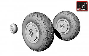 Tupolev Tu-2 wheels, late type tires 1:48 Armory ARAW48002