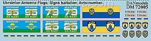 Ukraine 2014/15 ATO, Ukrainian Armed Forces flags, battalion Insignia, vehicle registration plates 1:72 DANmodel 72005