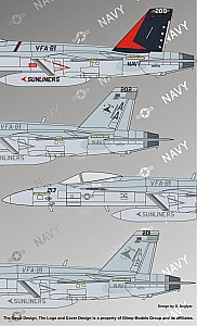 "McDonnell Douglas F/A-18E Super Hornet VFA-81 ""Sunliners"" Modern US NAVY 1/48 Authentic Decals 4837"