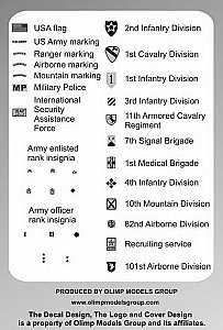 Modern US Army Rank Marking and Regiment Insignia 1/35 Authentic Decals G3504