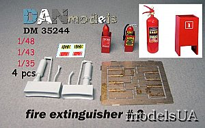fire extinguishers 4 pieces, set #2 - resin,PE, decal 1:48 1:35 Danmodels 35244