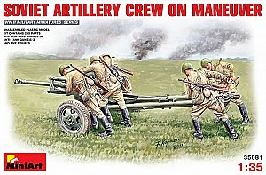 Soviet artillery crew with ZIS-3 gun on  maneuver 1/35 MiniArt 35081