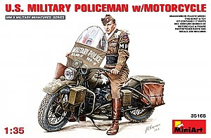 US M.P. officer w/ WLA Harley motorcycle 1/35 MiniArt 35168