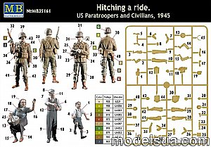 Hitching a ride, US Paratroopers and Civilians WWII 1/35 Master Box 35161