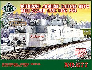 Motorized armored railcar MBV-2 with 76,2-mm tank guns F-34 1/72 UMT677