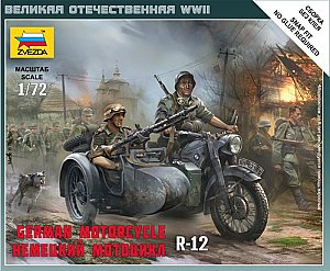 German motorcycle BMW R-12 with sidecar 1/72 Zvezda 6142